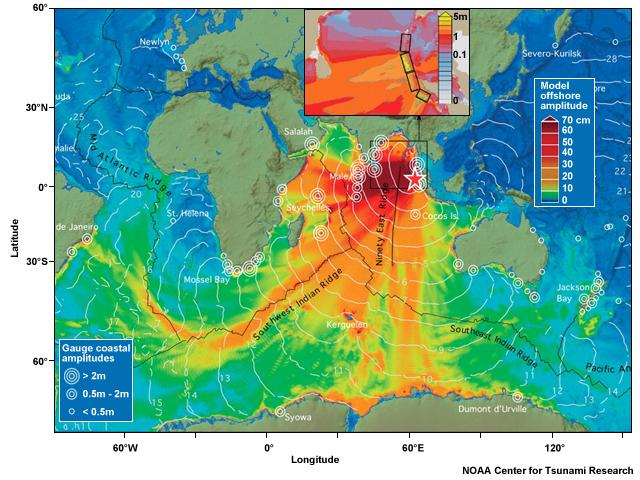 Tsunamis - Map showing ocean depths